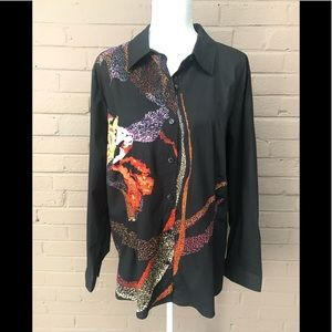 Christopher & Banks abstract button down blouse XL